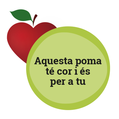 Aquesta poma té cor i és per a tu.