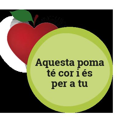 Aquesta poma té cor i és per a tu.