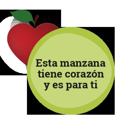 Esta manzana tiene corazón y es para ti.